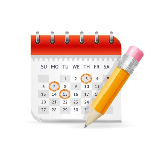 Conceito de negócio de calendário. a nomeação de reuniões importantes.