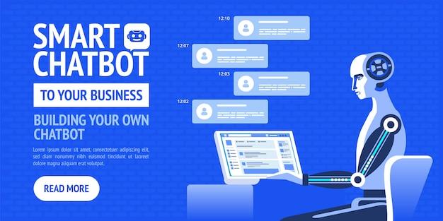 Conceito de negócio de chatbot. bandeira moderna de vetor