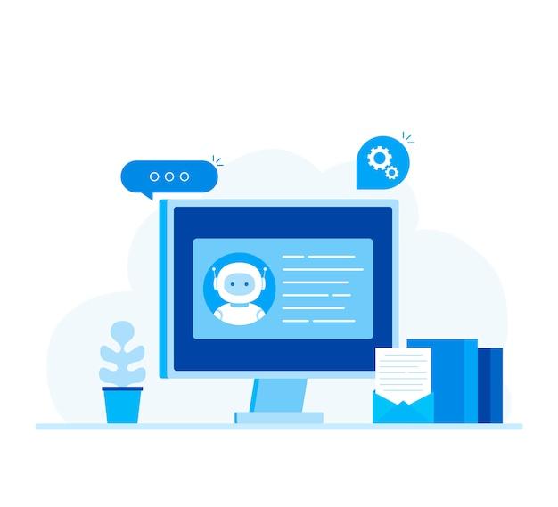 Conceito de negócio de chatbot. banner moderno para o site.