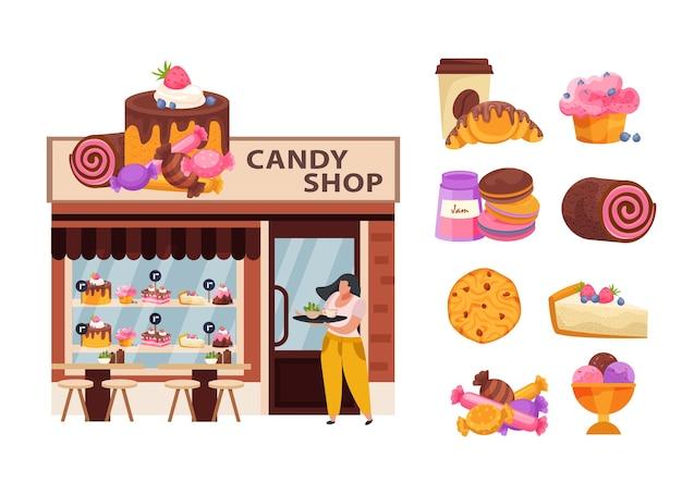 Conceito de negócio de confeitaria com produtos de confeitaria e doces