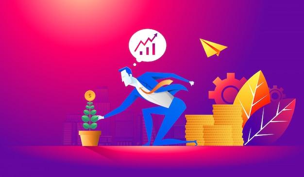 Conceito de negócio de crescimento de investimento e finanças. empresário, colocando uma moeda no vaso de flores e plantando a árvore do dinheiro verde. ilustração plana