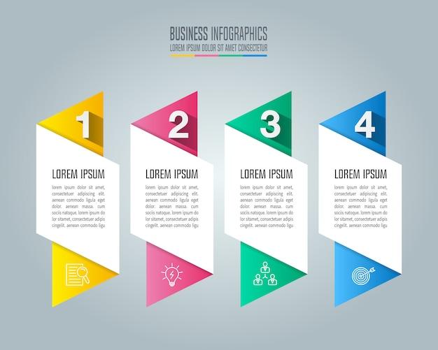Conceito de negócio de design de infográfico com 4 opções, partes ou processos.