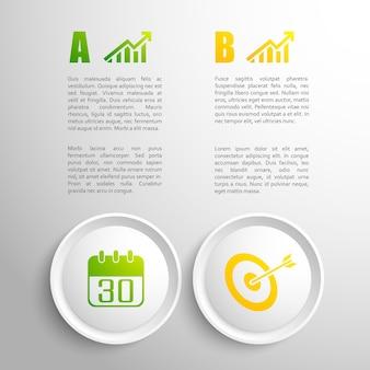 Conceito de negócio de design plano com elementos coloridos e campo de texto