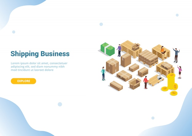 Conceito de negócio de envio para o modelo de site
