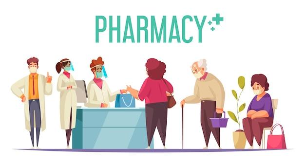 Conceito de negócio de farmácia com medicina e saúde