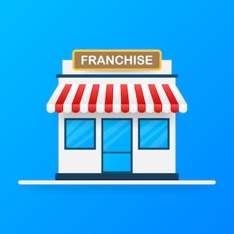 Conceito de negócio de franquia, sistema de marketing de franquia.