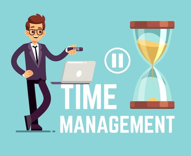 Conceito de negócio de gerenciamento de tempo com empresário dos desenhos animados e relógio. ilustração vetorial