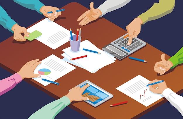 Conceito de negócio de gestos de mão isométricos com cartão de exploração usando caneta calculadora tablet tocando sinal de agitar bem deitado na mesa