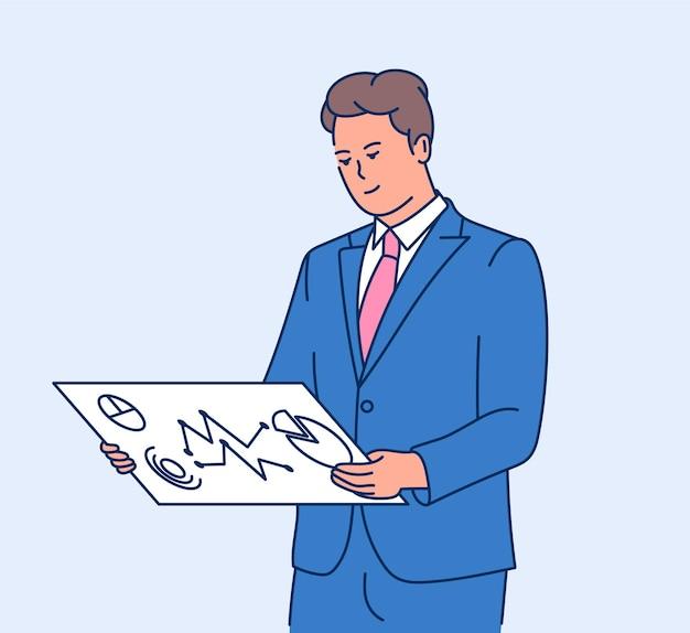 Conceito de negócio de informações de dados. homem de negócios inteligente jovem analisando informações de dados na tela. plano