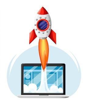 Conceito de negócio de inicialização bem-sucedida. laptop com rocket start. desenvolvimento de projetos empresariais, promoção de sites. ilustração em grande estilo. página do site e aplicativo para celular