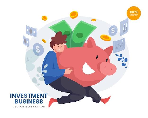 Conceito de negócio de investimento com homem e cofrinho