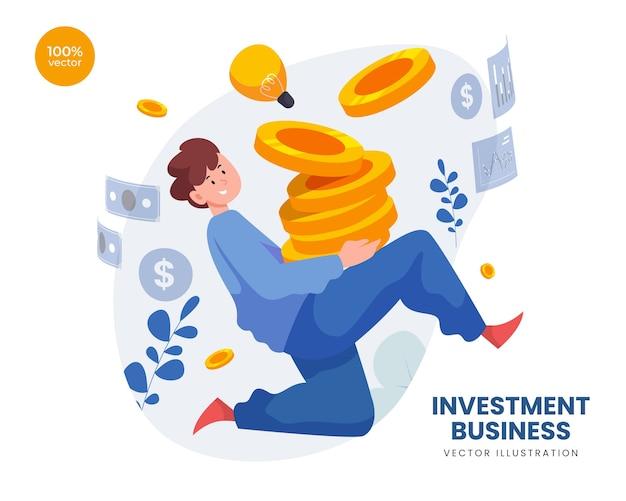 Conceito de negócio de investimento com moedas de homem e ideia