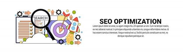 Conceito de negócio de marketing de otimização de seo modelo de banner web horizontal