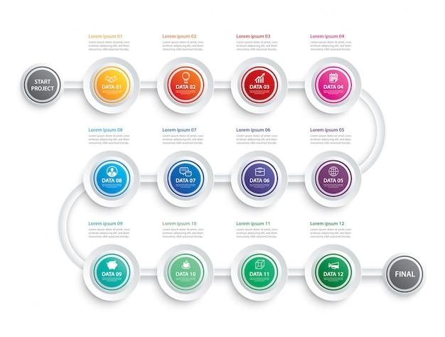 Conceito de negócio de modelo de dados infográfico timeline