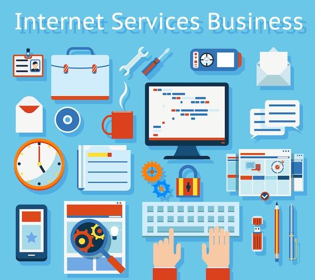 Conceito de negócio de serviço de internet colorido sobre fundo azul claro.