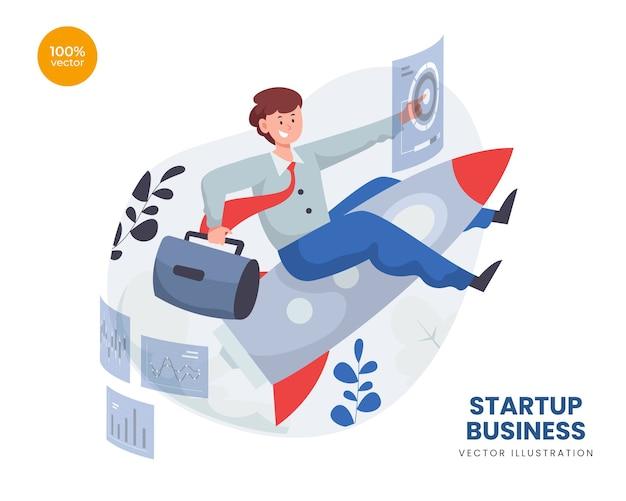 Conceito de negócio de startup com homem empreendedor e lançamento de foguete