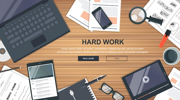 Conceito de negócio de trabalho duro
