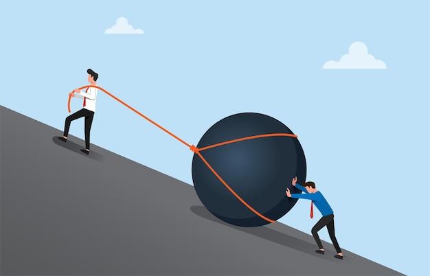 Conceito de negócio de trabalho em equipe para atingir o objetivo e o sucesso.
