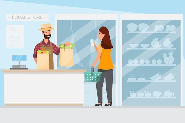 Conceito de negócio de varejo armazenar produtos alimentícios da fazenda local