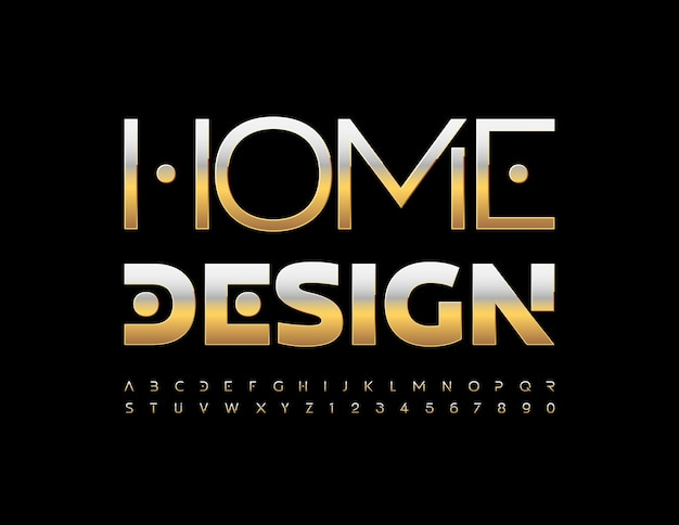 Conceito de negócio de vetor design de casa elegante fonte de metal ouro metálico alfabeto, letras e números