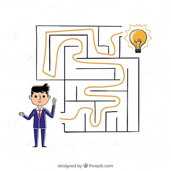 Conceito de negócio desenhado de mão com labirinto