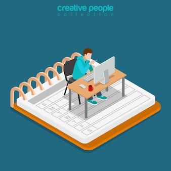 Conceito de negócio do trabalho de escritório móvel isométrico. ilustração conceitual do site de isometria 3d plana