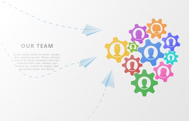 Conceito de negócio do trabalho em equipe em abstrato com engrenagens