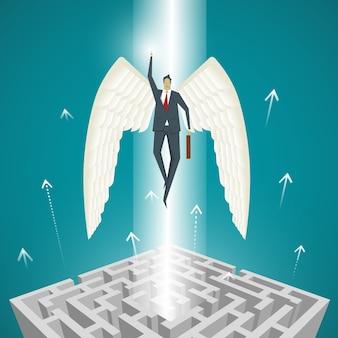 Conceito de negócio, empresário com asas que voam para fora do labirinto, para sair do impasse.