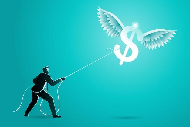 Conceito de negócio, empresário pegando o símbolo da moeda dólar voador com corda