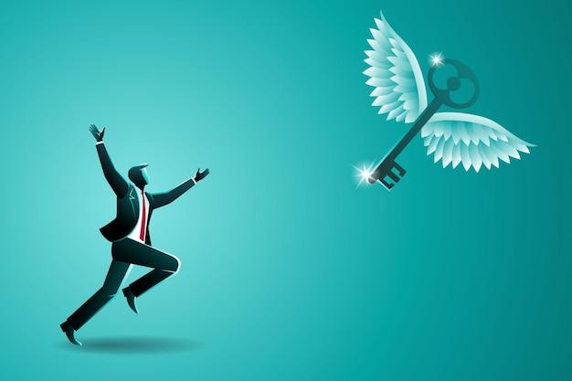 Conceito de negócio, empresário perseguindo uma chave voadora, simbolizando a luta para alcançar o sucesso