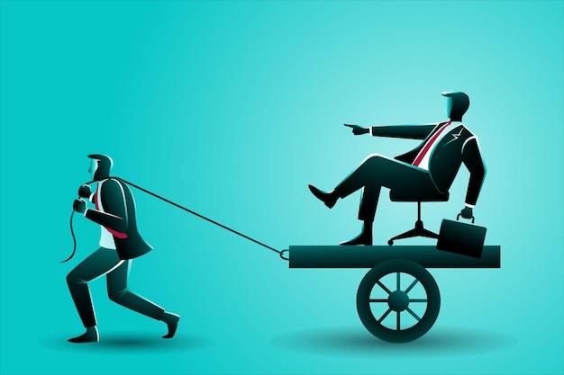 Conceito de negócio, empresário puxando o chefe no carrinho
