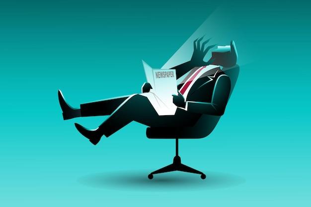 Conceito de negócio, empresário sentado na cadeira assustado com a mão do mal que aparece do jornal sendo lido