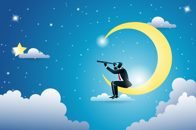 Conceito de negócio, empresário usando telescópio sentado na lua crescente olhando a estrela dourada