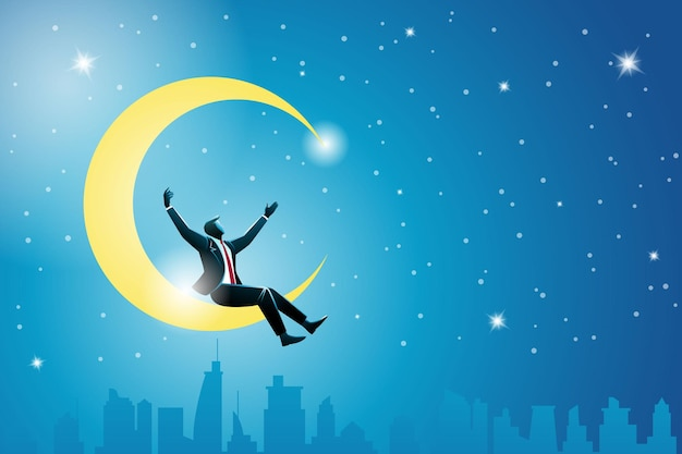 Conceito de negócio, feliz empresário sentado na lua crescente acima da paisagem urbana, comemorar seu sucesso
