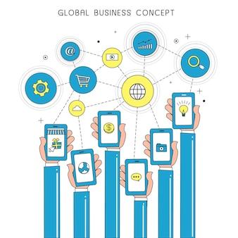 Conceito de negócio global com dispositivos em estilo de linha fina