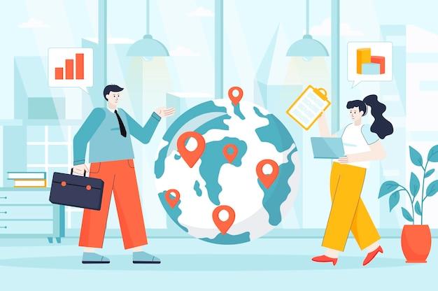 Conceito de negócio global em ilustração de design plano de personagens de pessoas para página de destino