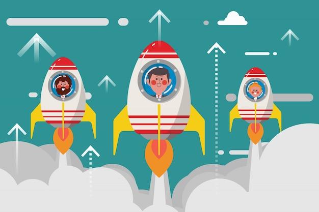 Conceito de negócio, grupo de foguetes de negócios novos comece no céu, estilo plano de personagem de desenhos animados estilo plano