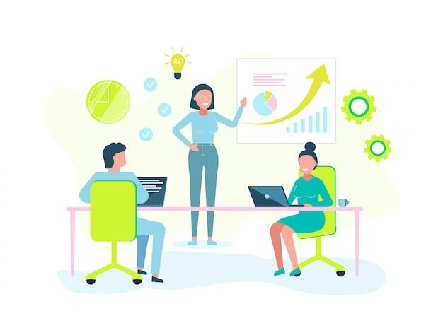 Conceito de negócio. ilustração de negócios, escritório trabalho estudo infográficos, análise de escala de evolução