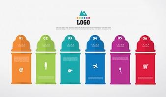 Conceito de negócio infográficos com 6 opções.
