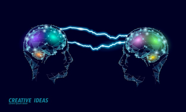 Conceito de negócio inteligente de qi do cérebro humano. e-learning suplemento de drogas nootrópicas braingpower. brainstorm ideia criativa projeto trabalho ilustração poligonal.