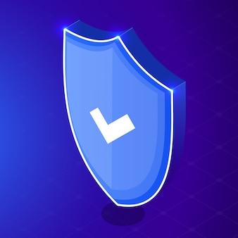 Conceito de negócio isométrica internet segurança escudo. ilustração isométrica de segurança de dados de rede. escudo de néon. escudo com a marca de seleção.