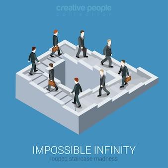 Conceito de negócio isométrica vicioso círculo impasse loop infinito. ilustração impossível da ilusão de ótica da escadaria inexistente da via da fábula do labirinto da fada impossível.