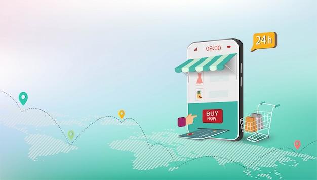Conceito de negócio isométrico com compras on-line no site ou aplicativo móvel