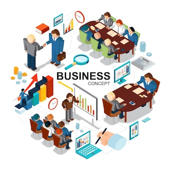 Conceito de negócio isométrico com gráficos de lupa moedas de relógio tablet computador laptop apresentação de negócios negociações conferência reunião ilustração