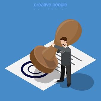 Conceito de negócio isométrico. homem trabalhador de micro escritório aprovar por meio de um enorme selo de documento impresso