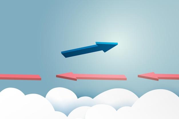 Conceito de negócio. líder de seta azul voando no céu azul do trabalho em equipe de negócios e uma visão diferente das setas vermelhas. ilustração em vetor arte papel.