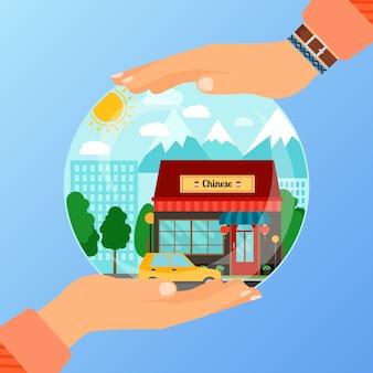 Conceito de negócio para abrir o restaurante chinês