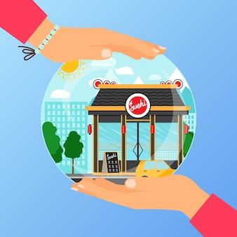 Conceito de negócio para abrir o restaurante de sushi