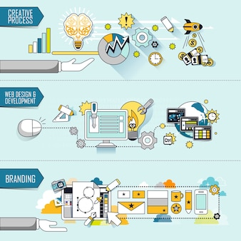 Conceito de negócio: processo criativo-web design e desenvolvimento-branding no estilo de linha fina