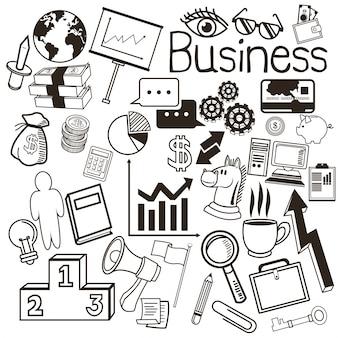 Conceito de negócio representado por conjunto de ícones e ícones
